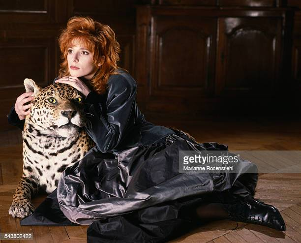 French singer Mylene Farmer during a photo shoot for the cover of her single 'Pourvu qu'elles soient douces'