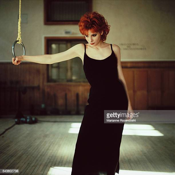 French singer Mylene Farmer during a photo shoot for the cover of her single Beyond my control