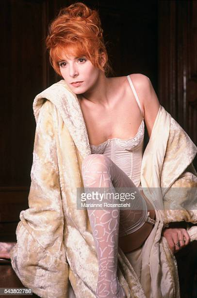 French singer Mylene Farmer during a photo shoot for the cover of her single Pourvu qu'elles soient douces