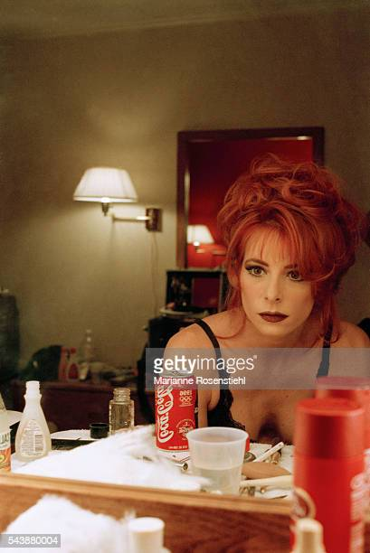 French singer Mylene Farmer on the set of her video clip California by American director Abel Ferrara The video tells the story of a woman from high...