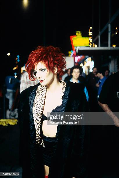 French singer Mylene Farmer on the set of the music video California by American director Abel Ferrara The video tells the story of a woman from high...
