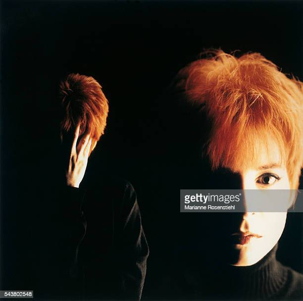 French singer Mylène Farmer during a photo shoot for the cover of her single Desanchantée