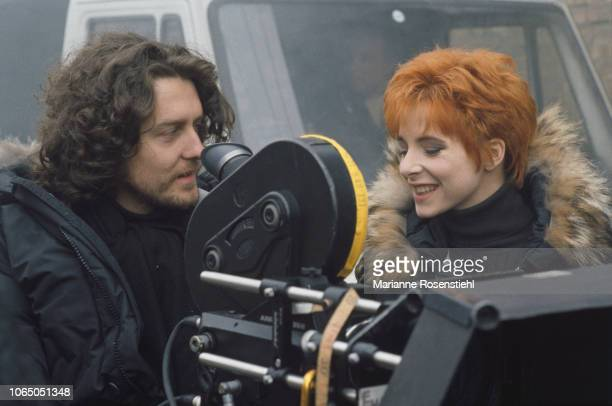 French singer Mylène Farmer on the set of her music video Désenchantée directed by French composer and director Laurent Boutonnat