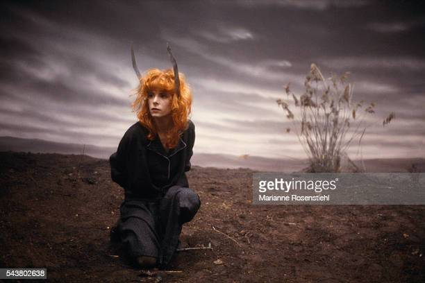 French singer Mylène Farmer on the set of her music video Sans logique directed by French composer and director Laurent Boutonnat