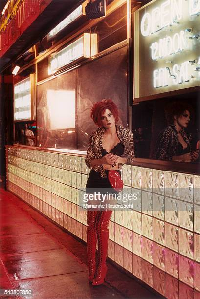 French singer Mylène Farmer on the set of her video clip California by American director Abel Ferrara The video tells the story of a woman from high...