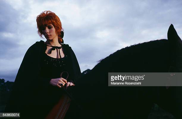 French singer Mylène Farmer on the set of her video clip Pourvu qu'elles soient douces directed by French composer and director Laurent Boutonnat