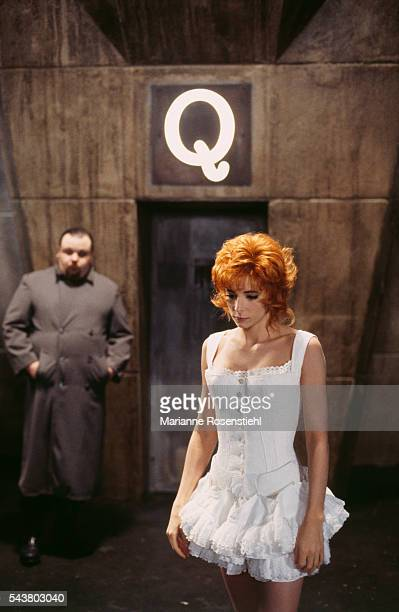 French singer Mylène Farmer on the set of her video clip Que mon coeur lâche directed by French producer and director Luc Besson
