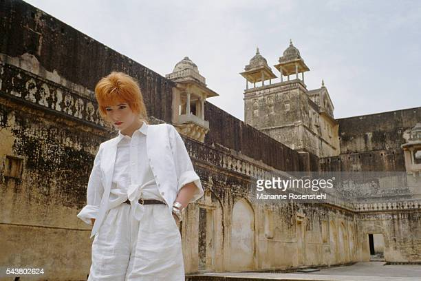 French singer Mylène Farmer on vacation in India