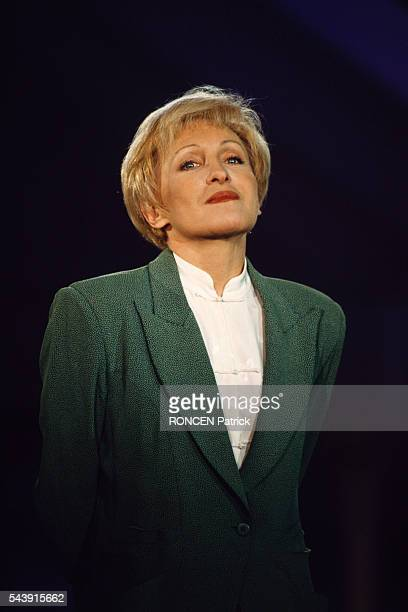 French singer Nicole Courcel on the set of the televised pop music show Stars 90