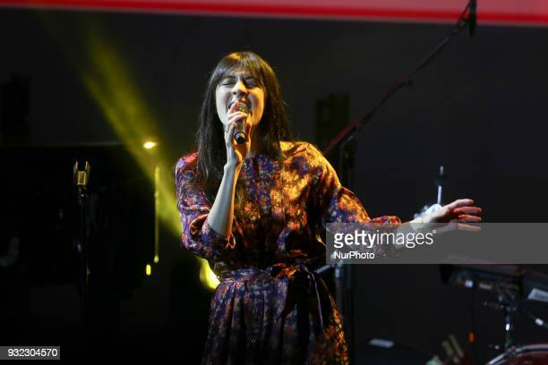 French singer Nolwenn Leroy takes part in the gala celebrating the 100th anniversary of the creation of the French League against cancer in the Cité...