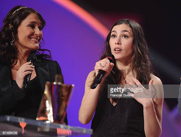 French singer Olivia Ruiz receives the award for female artist of the year during the 25th Victoires de la Musique yearly French music awards...