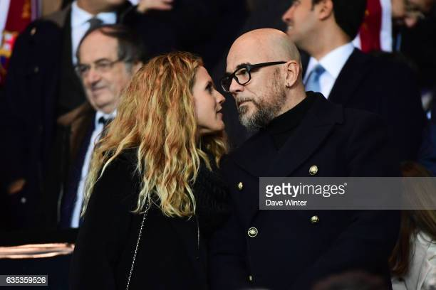 French singer Pascal Obispo and his wife Julie Hantson during the Champions League match between Paris Saint Germain and FC Barcelona at Parc des...