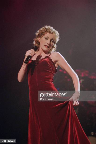 French singer Patricia Kaas performs live on stage in London in June 1994