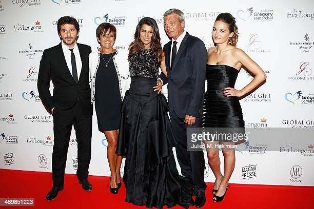 French singer Patrick Fiori Laurence Lemarchal Karine Ferri Pierre Lemarchal and Leslie Lemarchal attend the 'Global Gift Gala' 2014 Charity Dinner...