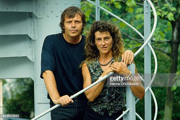 French singer Pierre Bachelet and sailor Florence Arthaud during the recording of the first showing of Stars 90 and for their duette entitled 'Flo'