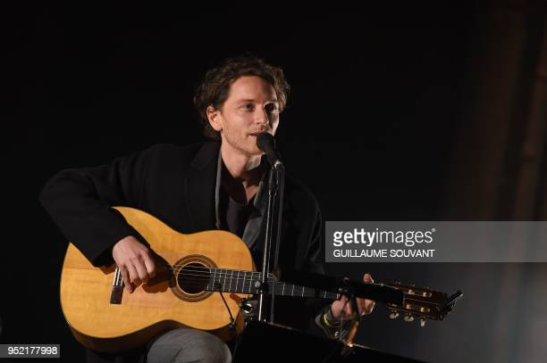 French singer Raphael pays tribute to the late Singer Leonard Cohen inside the Bourges's Cathedrale during the 42th edition of 'Le Printemps de...