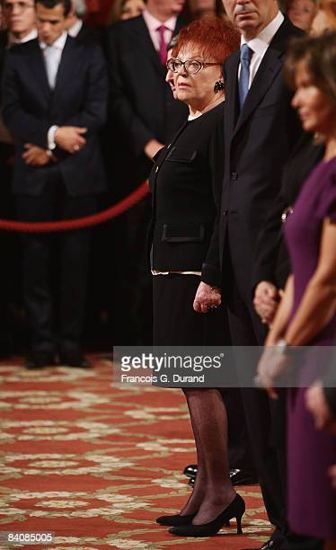 French singer Regine Receives Order of Chevalier of Arts and Literature from french president Nicolas Sarkozy at the Elysee Palace on December 18...
