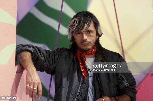 French singer Renaud at TV Show Top 50, December 3, 1985.