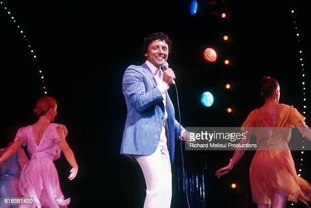 French singer Sacha Distel gives a concert at the Olympia in Paris.