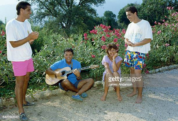 French singer Sacha Distel on holiday with his wife Francine and their sons Julien and Laurent at their house in Le Rayol on the French Riviera |...