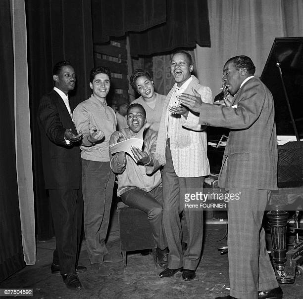 French singer Sacha Distel with American band The Platters created in 1953 Herb Reed Joe Jefferson Cornell Gunther and Alex Hodge