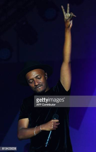 French singer Said M'Roumbaba aka Soprano performs on stage during the 33rd edition of the Francofolies Music Festival in La Rochelle on July 12 2017...