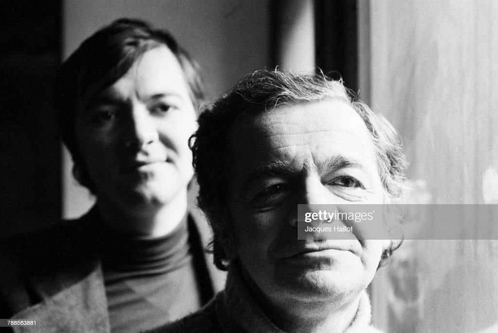 French Singer Serge Reggiani and His Son Stephane, at Home