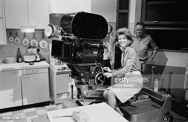 French singer Sheila behind the camera during the filming of L'Annee du Bac directed by Maurice Delbez