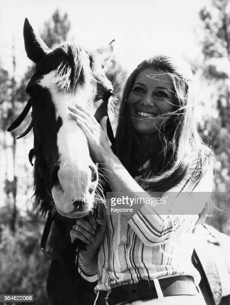 French singer Sheila born Annie Chancel out riding at the Grand Canyon ranch in Maure Vieil west of Cannes France 9th July 1970