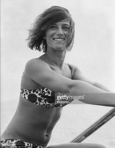 French singer Sheila born Annie Chancel takes a ride on a ChrisCraft boat after recovering from an illness which kept her from the stage for three...