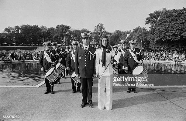 French singer Sheila performs on the show France Inter Public at the Jardin de Tuileries The CRS marching band and motorcycle section accompanied her...