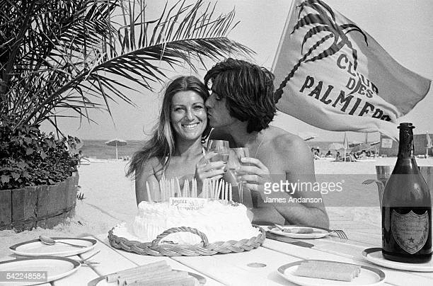 French singer Sheila whose real name is Annie Chancel celebrates her 27th birthday with her husband Ringo whose real name is Guy Bayle on a StTropez...