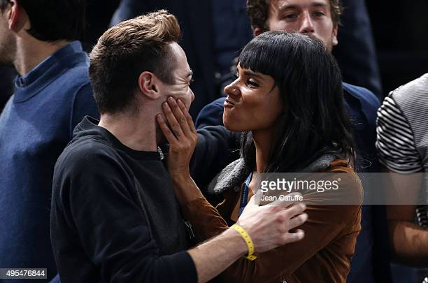 French singer Shy'm attends the match of her boyfriend Benoit Paire of France who won his first round against against Gael Monfils of France on Day 1...