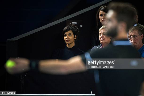 French singer Shy'm looks at her boyfriend French Benoit Paire playing with Croatian Marin Cilic during the ATP Marseille Open 13 Provence semifinal...