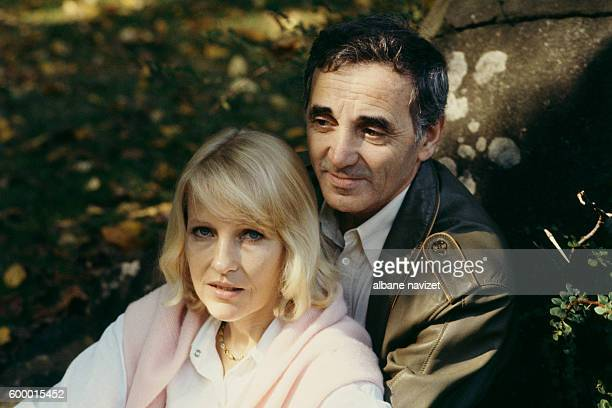 French singer songwriter and actor of Armenian origin Charles Aznavour and his third wife Swede Ulla Thorsell