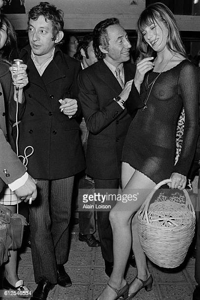 French singer, songwriter, and actor Serge Gainsbourg, his partner, British singer and actress Jane Birkin, and French director, screenwriter, and...