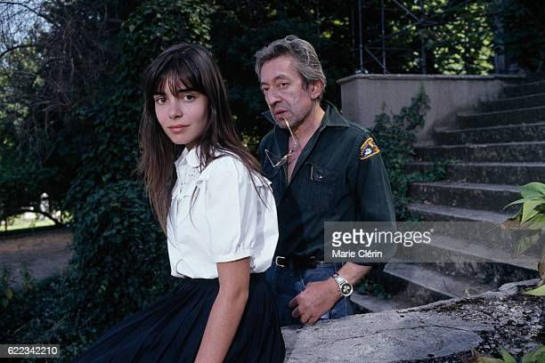French singer songwriter screenwriter actor and director Serge Gainsbourg and actress Elodie Bouchez on the set of his film Stan the Flasher