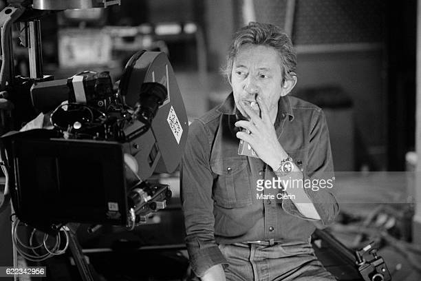 French singer songwriter screenwriter actor and director Serge Gainsbourg on the set of his film Stan the Flasher