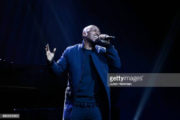 French singer Soprano performs on stage after being awarded with the Great Prize of Urban Music during les Grands Prix De La Sacem 2017 Ceremony At...