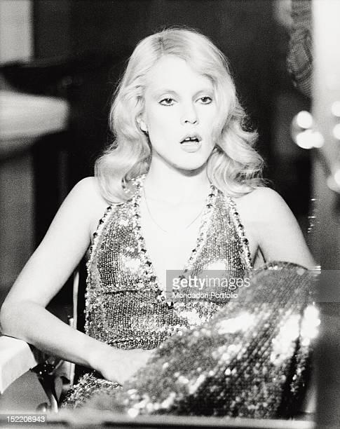 French singer Sylvie Vartan rehearsing in 'Punto e basta' RAI's entertainment broadcasting she anchored with Gino Bramieri and Loretta Goggi Rome 1975