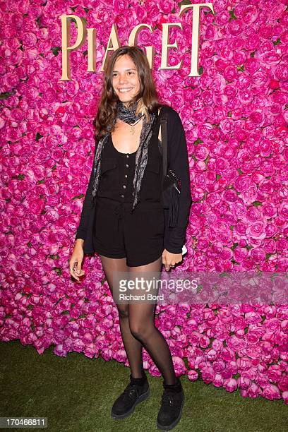 French singer Vanille Clerc poses during the Piaget Rose Day Private Event in Orangerie Ephemere at Jardin des Tuileries on June 13 2013 in Paris...