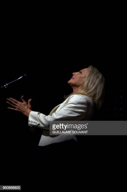 French singer Veronique Sanson performs on stage at the opening of the 42nd edition of 'Le Printemps de Bourges' rock and pop music festival in...