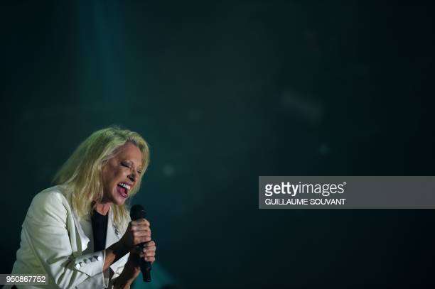 French singer Veronique Sanson performs on stage during the opening of the 42nd edition of 'Le Printemps de Bourges' rock and pop music festival in...