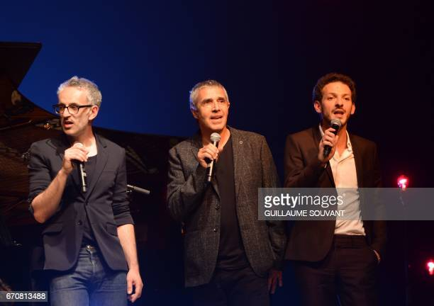French Singer Vincent Delerm French singer Julien Clerc and French artist Vincent Dedienne perform on stage for a tribute to Barbara at the 41st...