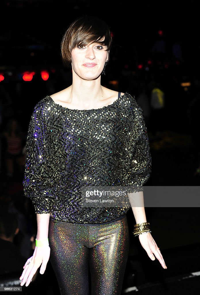 French singer Yelle poses prior to her DJ performance at Down & Derby Roller-Disco inside the Rain Nightclub on April 22, 2010 in Las Vegas, Nevada.
