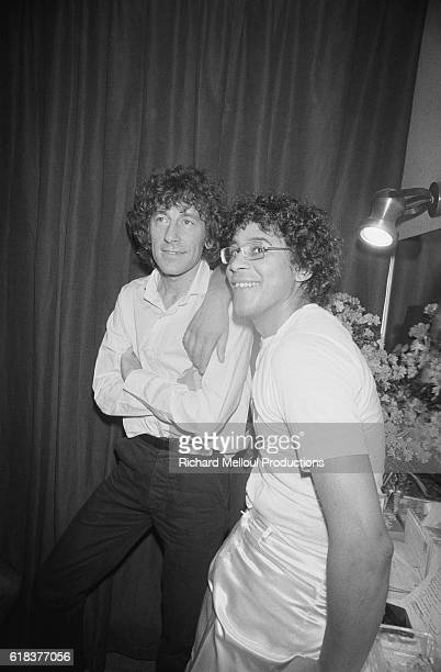 French singers Alain Souchon and Laurent Voulzy sit together backstage during a 1979 concert at the Olympia in Paris