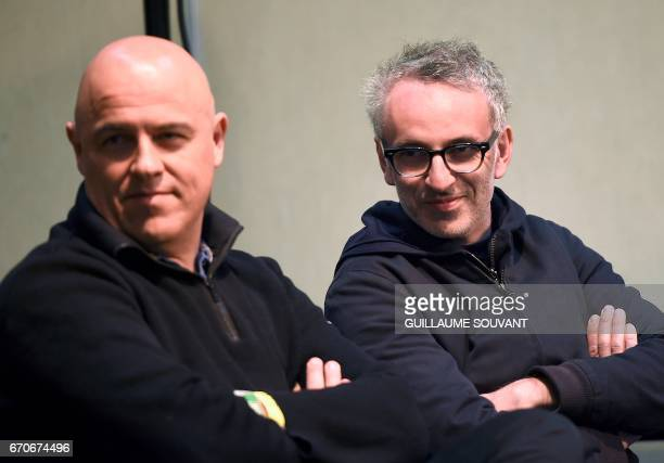 French singers Dominique A and Vincent Delerm take part in a press conference regarding a tribute to Barbara at the 41th edition of 'Le Printemps de...