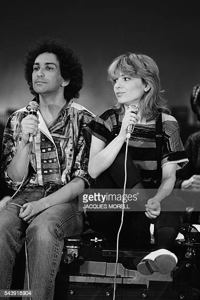 French singers France Gall and Michel Berger on the set of a show dedicated to France Gall Formule 11