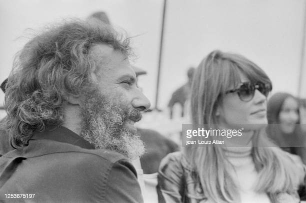 French singers Georges Moustaki and Francoise Hardy at the International Pop and Rock Festival of the Isle of Wight