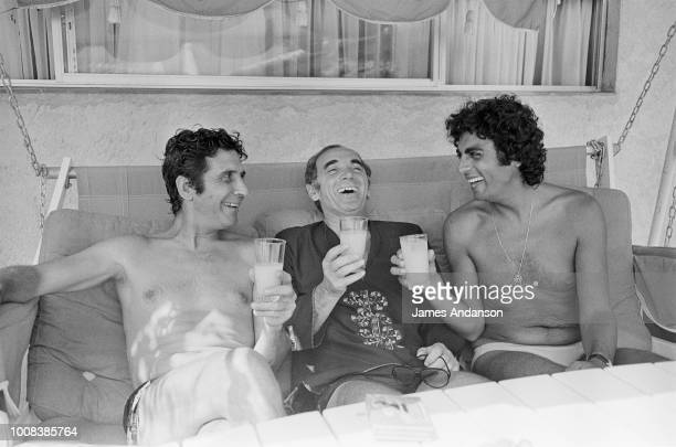 French Singers Gilbert Bécaud Charles Aznavour and Enrico Macias during their summer holidays in St Tropez 15th July 1975
